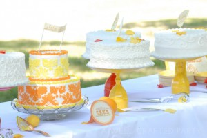 Orange and Yellow Cake Table