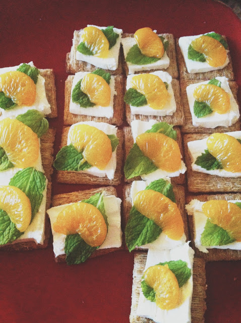 Recipe: Mandarin Orange, Cream Cheese, and Mint Appetizers