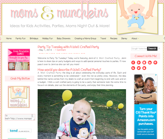Featured: A Well Crafted Party on Moms and Munchkins