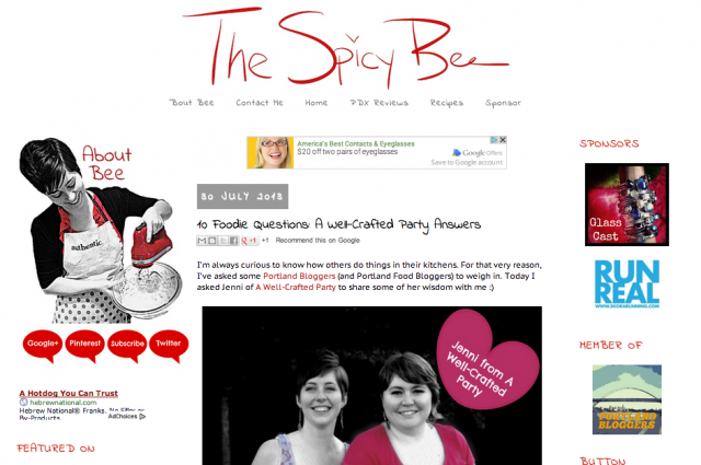 The Spicy Bee is featuring ME! Woot.
