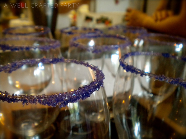 "Wine glasses can be used for anything from water, to wine, to signature beverages! Image from my ""Real Party: Las Vegas Themed Bridal Shower"""