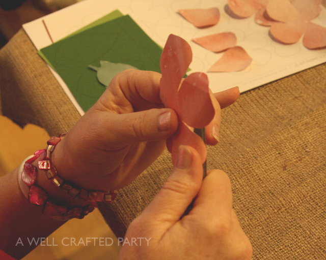 Curling the paper flowers