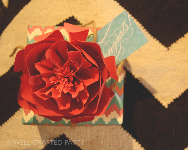 pretty paper flower gift topper