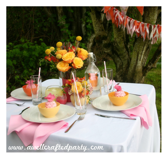 Pink and Orange Summer Tablescape