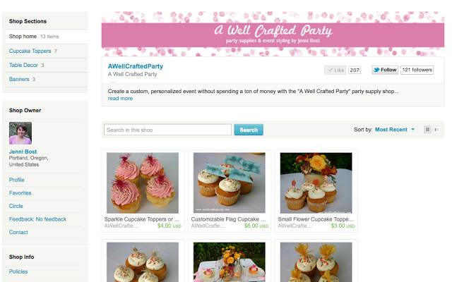 A Well Crafted Party Etsy Shop