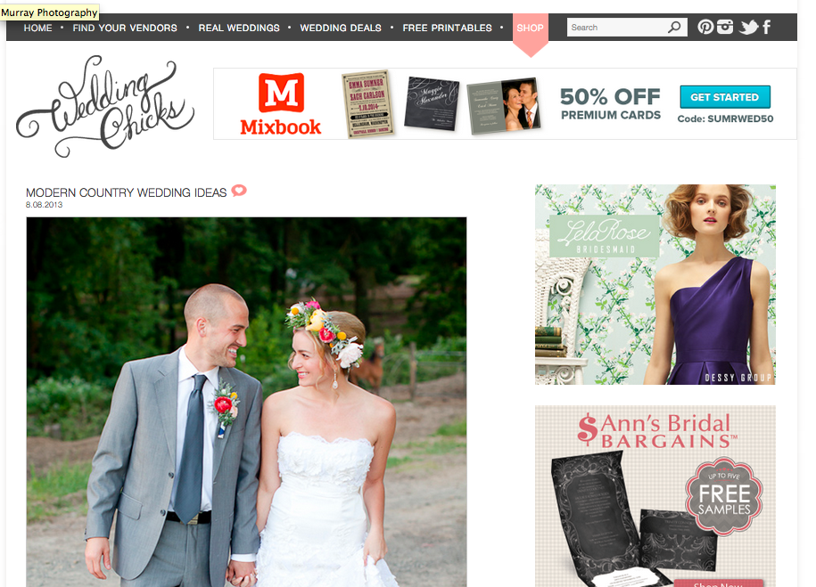 Featured on: The Wedding Chicks— A Modern Country Wedding