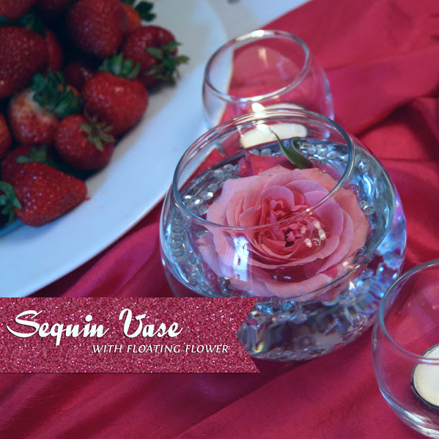 {DIY} Sequin Vase with Floating Flower Centerpiece