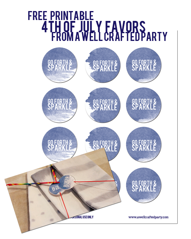 4th of July Favor Printables-- Free at A Well Crafted Party