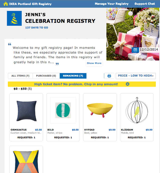 Ikea Registry for Jenni Bost