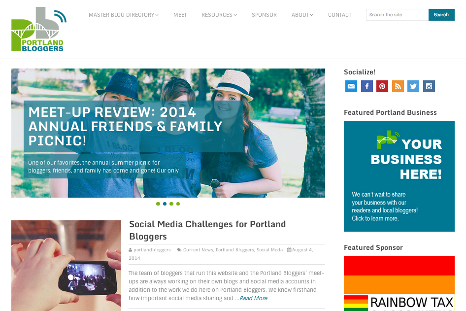 Snapshots: Portland Bloggers' Website Has New Look!
