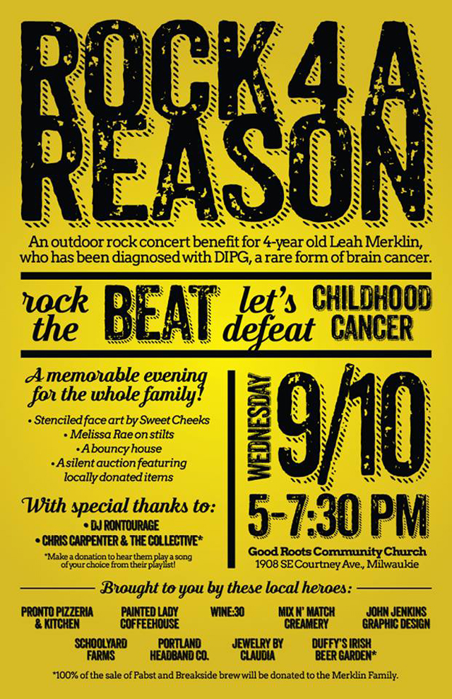 Rock for a Reason: Outdoor Rock Concert to Benefit 4-Year old with cancer – 9/10/2014