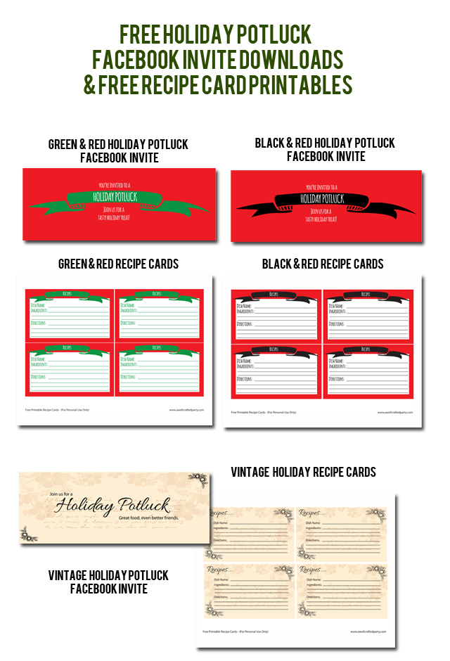 Free Holiday Potluck Facebook Invites & Recipe Card Printables