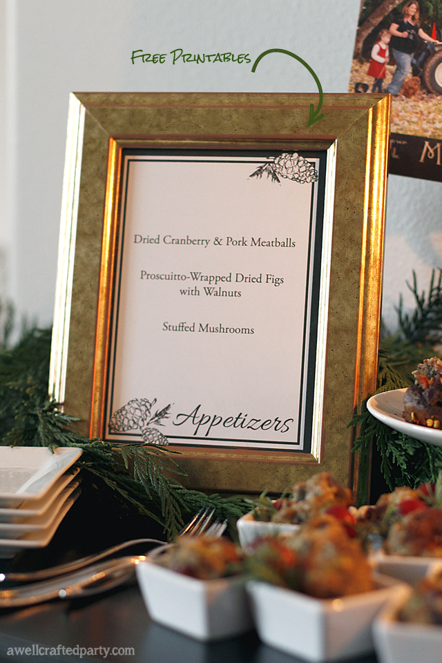 Free Printable Holiday Appetizer Menu // A Well Crafted Party