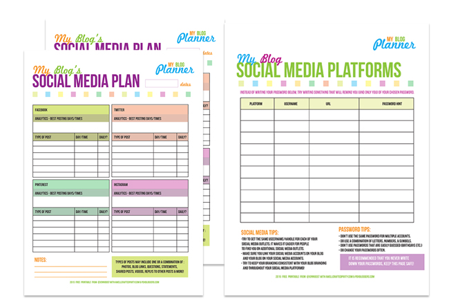 Free Printable Social Media Planners From A Well Crafted Party