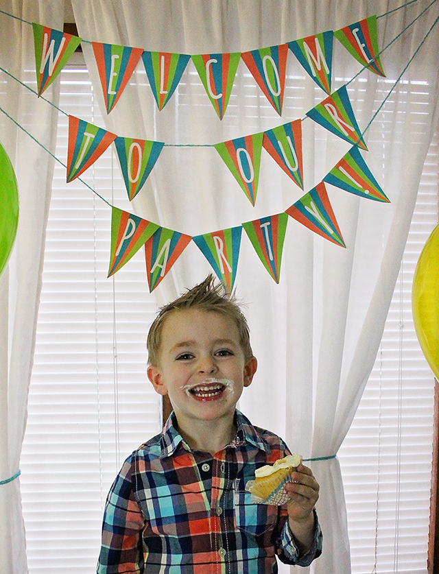 We aren't sure if he is more excited about getting to eat the cupcake or becoming a big brother!
