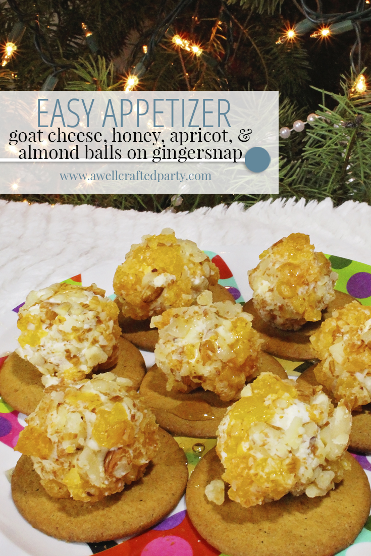 Easy Appetizer: Goat Cheese, Apricot and Almond Balls on Gingersnap
